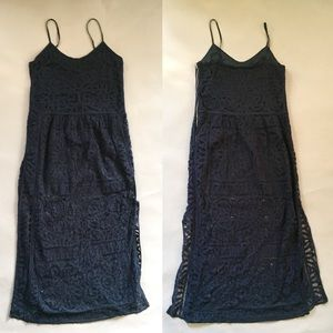 SEA New York navy lace maxi dress Sz 8 silk lined